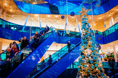 Emporia, modern shopping center, is visited by many people during Christmas season in Malmo, Sweden. MALMO, SWEDEN - JANUARY 2, 2015: Emporia, modern shopping Royalty Free Stock Photos