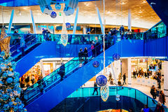 Emporia, modern shopping center, is visited by many people during Christmas season in Malmo, Sweden. MALMO, SWEDEN - JANUARY 2, 2015: Emporia, modern shopping Stock Photography