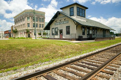 Emporia Virginia Train depot and railroad tracks in rural southeastern Virginia Stock Images