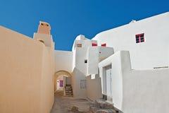 Emporio村庄街道在圣托里尼,希腊2 图库摄影