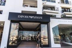 Emporio阿玛尼商店在Puerto Banus,安大路西亚,西班牙 免版税库存照片