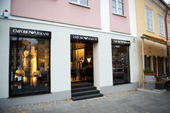 Emporio Armani store in Vilnius, Lithuania Stock Photo