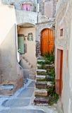 Emporio village at Santorini, Greece stock images