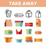 Emportez la ligne mince ensemble de vecteur de nourriture d'icônes illustration stock