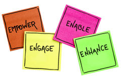 Empower, engage, enable, and enhance. Inspirational concept - handwriting on isolated sticky notes Stock Images