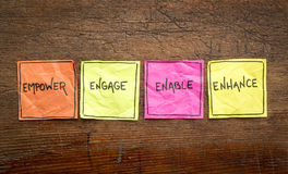 Empower, engage, enable, and enhance. Inspirational concept - handwriting on isolated sticky notes against rustic wood Stock Image