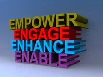 Free Empower Engage Enhance Enable On Blue Royalty Free Stock Photography - 191038857