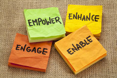 Empower, enhance, enable and engage. Business motivation concept -  handwriting on sticky notes Royalty Free Stock Photography