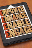 Empower, enhance, enable and engage. Motivational leadership and business concept - a collage of iords in letterpress wood type on a digital tablet Stock Photography
