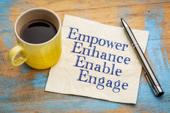 Empower, enhance, enable and engage on napkin. Motivational leadership, coaching or business concept - empower, enhance, enable and engage  words on a napkin Stock Images
