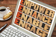 Empower, enhance, enable and engage in wood type. Empower, enhance, enable and engage - motivational leadership and business concept - a collage of words in Stock Photography
