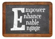 Empower, enhance, enable, engage word abstract. White chalk text on a vintage slate blackboard Stock Photography