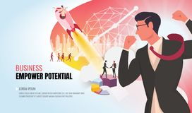 Empower potential to success helping business team ver2 stock illustration