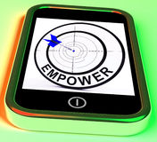 Empower Smartphone Means Provide Tools. Empower Smartphone Meaning Provide Tools And Encouragement Royalty Free Stock Image