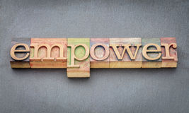 Empower word in wood type. Empower word banner in letterpress wood type printing blocks stained by color inks stock image