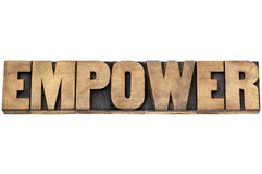 Empower word in wood type Royalty Free Stock Photos