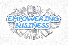 Empowering Business - Cartoon Blue Text. Business Concept. Blue Word - Empowering Business. Business Concept with Doodle Icons. Empowering Business - Hand Drawn Stock Photography