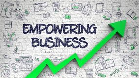 Empowering Business Drawn on Brick Wall. 3d. Empowering Business - Development Concept. Inscription on the White Brickwall with Hand Drawn Icons Around Stock Images