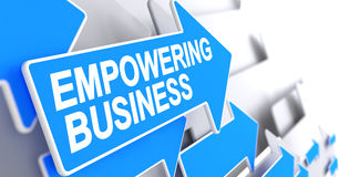 Empowering Business - Message on the Blue Pointer. 3D. Royalty Free Stock Photo