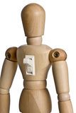 Empowerment. Mannequin with an on off switch on his back.  The mannequin is switched on.  Conceptual image for motivation, empowerment, etc Royalty Free Stock Photos