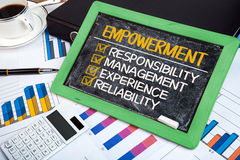 Empowerment concept: responsibility management experience reliab Stock Photos