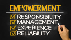 Empowerment concept: responsibility management experience reliab. Ility on blackboard Royalty Free Stock Photos