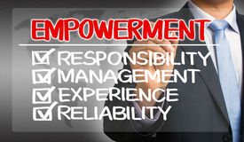 Empowerment concept: responsibility management experience reliab Stock Photo