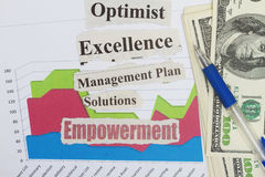 Empowerment. Solutions and other management plan goals royalty free stock photo