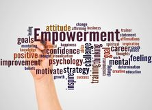 Empowerment word cloud and hand with marker concept. On white background royalty free stock photos