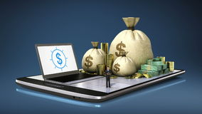 Empréstimo de operação bancária em linha, finanças no telefone esperto, almofada esperta, móvel (alfa incluída) vídeos de arquivo
