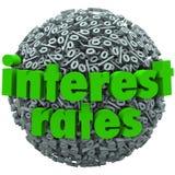 Empréstimo hipotecário da esfera do símbolo do sinal de por cento das taxas de juro Foto de Stock