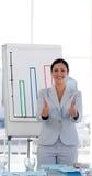 Empreendedor fêmea com polegares acima fotos de stock royalty free