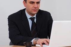 Empreendedor que trabalha em seu portátil Foto de Stock Royalty Free