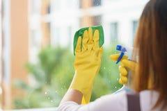 Empregada da mulher que limpa o espelho com o pano verde fotos de stock