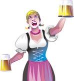 Empregada de mesa com cerveja Imagem de Stock Royalty Free