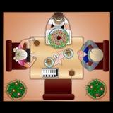 A empregada de mesa com os clientes no café ilustração do vetor