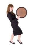 Empregada de mesa da dança com bandeja Imagens de Stock Royalty Free