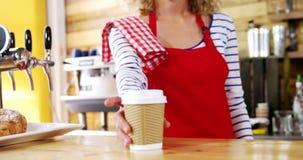 Empregada de mesa de sorriso que serve um café no contador vídeos de arquivo