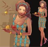 Empregada de mesa do café Imagem de Stock