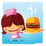Empregada de mesa do fast food Fotos de Stock Royalty Free