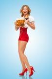 Empregada de mesa entusiasmado Fotografia de Stock Royalty Free