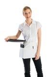 Empregada de mesa feliz With Serving Tray foto de stock
