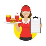 A empregada de mesa guarda a bandeja e mostra o menu Foto de Stock Royalty Free