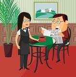 A empregada de mesa leva o homem do café em um restaurante foto de stock royalty free
