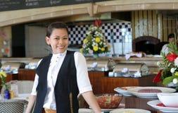 Empregada de mesa no trabalho Imagem de Stock Royalty Free