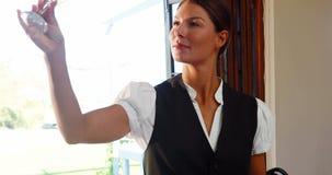 Empregada de mesa que inspeciona o vidro de vinho vídeos de arquivo