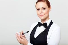 Empregada de mesa que toma pedidos Imagens de Stock Royalty Free