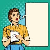 A empregada de mesa retro toma a ordem escreve para baixo refeições ilustração royalty free
