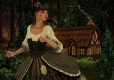 Empregada doméstica bonita do leite nas madeiras Fotos de Stock Royalty Free