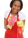 Empregada doméstica bonita que lava com esponja Fotografia de Stock